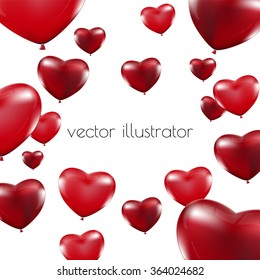 Happy Valentines Day, Red heart  balloons  colorful illustration background