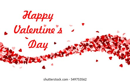 Happy Valentine's Day with red hearts wave