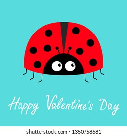 Happy Valentines Day. Red lady bug ladybird icon. Love greeting card. Cute cartoon kawaii funny baby character.Flat design. Blue background. Vector illustration