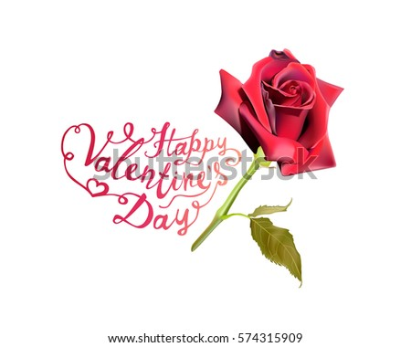 Happy Valentines Day Red Rose Stock Vector Royalty Free 574315909
