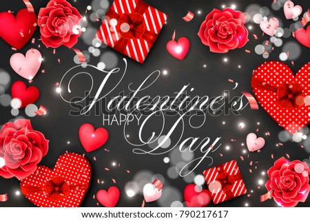Happy Valentines Day Red Roses Gift Stock Vector Royalty Free