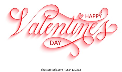 HAPPY VALENTINE'S DAY red vector copperplate calligraphy banner