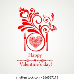 Happy Valentine's Day. Restaurant Menu Card Design. Menu Template on Valentine`s Day. Vector illustration