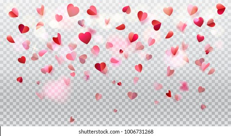 Happy Valentines Day romance background with heart shapes blurred confetti rose petals, flying, red pink color transparent bokeh lights vector decoration, greeting card anniversary, love day celebrate
