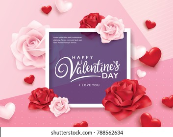 Happy Valentines Day romance greeting card with roses and hearts