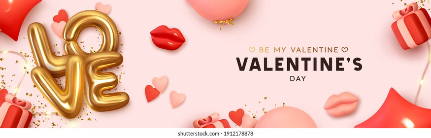 Happy Valentine's Day Romantic creative banner, horizontal header for website. Background Realistic 3d festive decorative objects, red lips, heart shaped balloons, love word text, vector gift box.