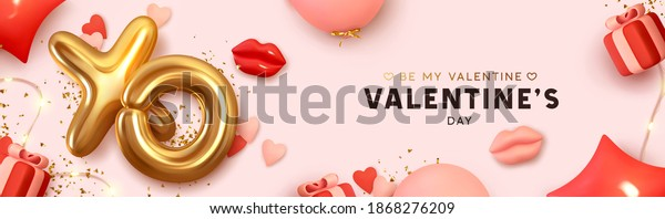 Happy Valentine's Day Romantic creative banner, horizontal header for website. Background Realistic 3d festive decorative objects, red lips, heart shaped balloons, XO symbol, gift box. Realism design