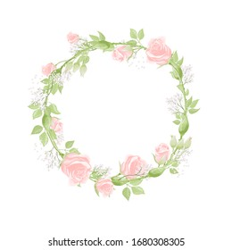 Happy Valentines day romantic greeting postcard wreath with cream pink rose flowers. Save the date vector template holiday card design
