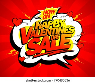 Happy Valentines day sale banner design, explosive pop art style