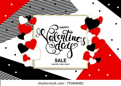 Happy valentines day Sale banner with hearts, round frame and calligraphy. Vector illustration.