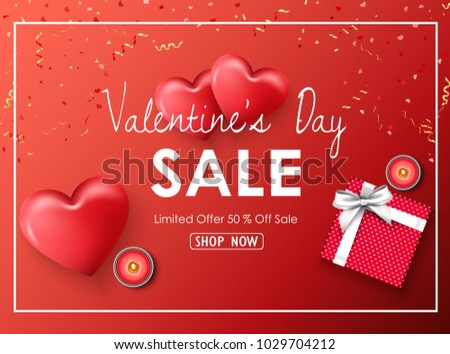Happy Valentines Day Sale Banner Red Stock Vector Royalty Free