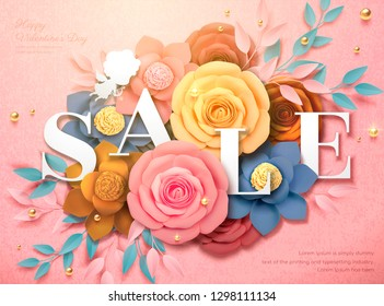 Happy Valentine's Day Sale design with colorful paper flowers in 3d illustration, pink background