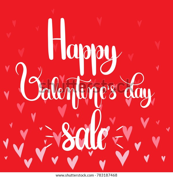graphic relating to Happy Valentines Day Banner Printable titled Content Valentines Working day Sale Handwritten Lettering Inventory Vector