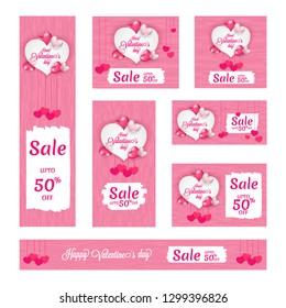 Happy Valentine's Day sale header and banner set with 50% discount offer and decorative heart shapes.