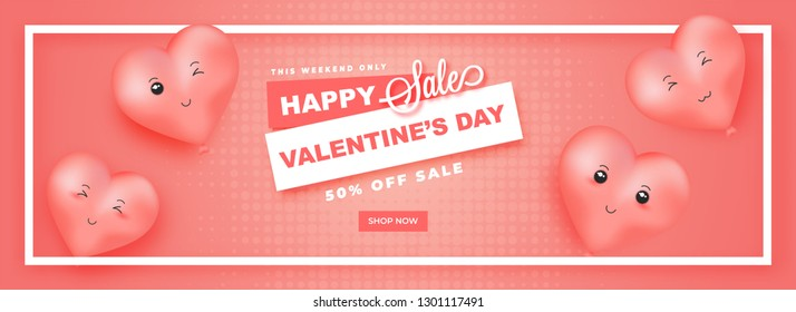 Happy Valentine's Day sale header design, illustration of cute heart balloons with expressions and 50% discount offer on pink halftone background.