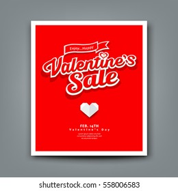 Happy Valentine's day sale on red background, vector illustrations