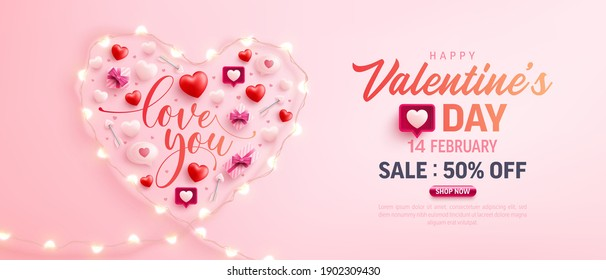 Happy Valentine's Day Sale Poster or banner with symbol of heart from LED String lights and valentine elements on pink background. Promotion and shopping template for love and Valentine's day concept