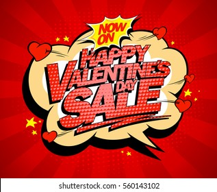 Happy Valentine`s day sale poster concept, holiday explosive sale design