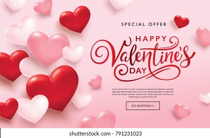 Happy Valentines Day sale poster with pink and red hearts