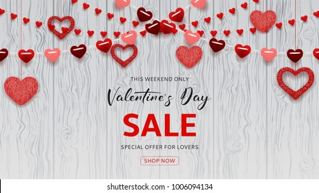 Happy Valentine's Day Sale Web Banner. Romantic composition with garlands from paper. Beautiful backdrop with heart from threads on wooden texture. Vector illustration.