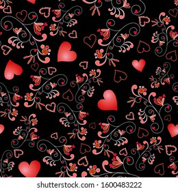 Happy Valentine's Day, seamless contrasting vector pattern with scarlet hearts and vintage decor elements on a black background. For fabrics, cards, paper, backgrounds, covers, banners, posters.