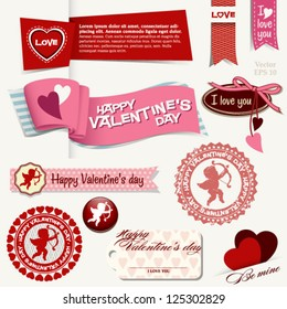 Happy Valentine's day set with banners, badges, icons, amor