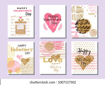 Happy  Valentine's Day. Set of beautiful greeting cards  with hearts. Festive art  background.Perfect handdrawn design element for poster, banner, wedding invitation. Vector illustration.