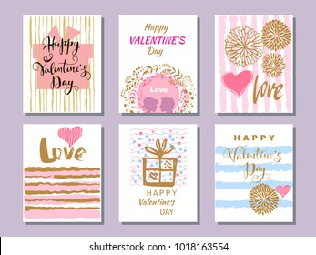 Happy; Valentine's Day. Set of beautiful greeting cards  with hearts. Festive art  background.Perfect handdrawn design element for poster, banner, wedding invitation. Vector illustration.