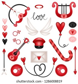 Happy Valentine's Day! Set, collection of cupid items. Harp, guitar, arrow, bow, candy, balloon, signs, hearts, wings, halo, stick, cap, letter and decor. Vector illustration.