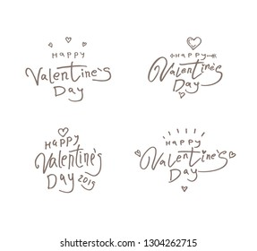 Happy Valentines Day. Set of four Valentines Day greeting logos templates with inscription with cupid's arrow and hearts. Vector illustration