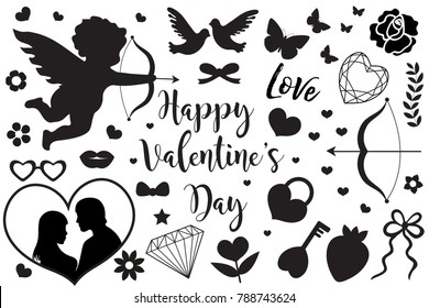 Happy Valentine's Day set of icons stencil black silhouette. Cute romance love collection of design elements with cupid, heart, couple, pigeons, diamond, butterfly, flowers. Vector illustration