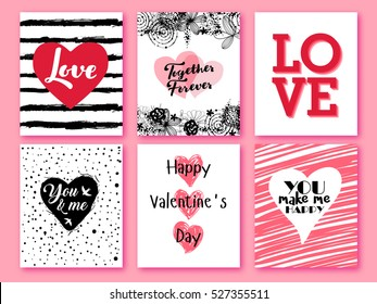 Happy Valentines day. Set of Valentines romantic greeting card, invitation, poster design templates