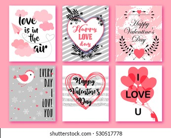 Happy Valentines day. Set of Valentines romantic greeting card, invitation, poster design templates. Love