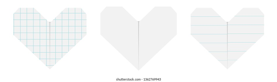 Happy Valentines day sign symbol. Notebook lined squared paper heart icon set. Origami handmade craft fold. Line Cell texture. Cute graphic shape. Flat design. Love card. White background. Vector