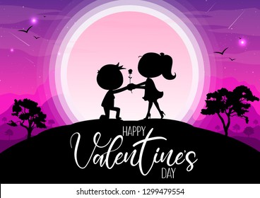 Happy valentine's day, silhouettes man and women give roses under the moonlight. Romantic atmosphere
