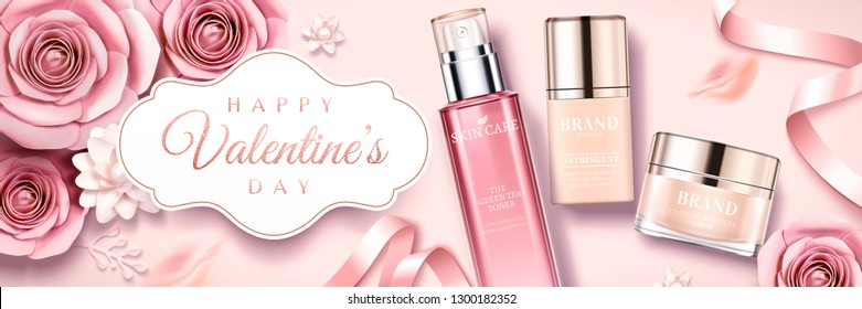 Happy Valentine's day skincare products banner with paper roses and ribbons in 3d illustration, top view