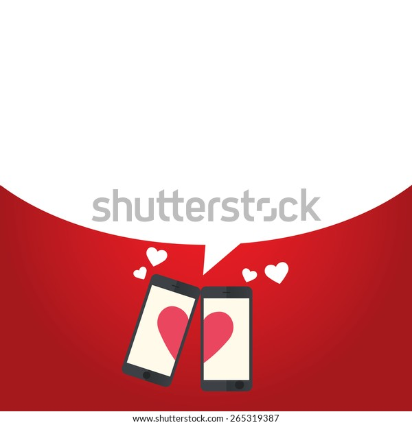 Happy Valentines Day. Smart phone couple on hand flat icon, vector illustration
