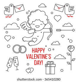 Happy Valentine's day. Smiling cute cupid. Greeting card and a set of elements for design: a bird, a cloud, heart, gift, rose, glass, wedding rings