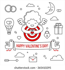 Happy Valentine's day. A smiling cute Cupid made a gesture heart in the center of the target. Greeting card and a set of elements for design: a bird, a cloud, heart, gift, banner, lock