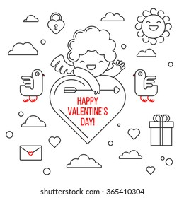 Happy Valentine's day. Smiling cute cupid. Greeting card and a set of elements for design: a bird, a cloud, heart, gift, lock, sun.