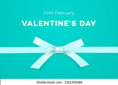 Happy Valentines day, symbol of love, gift on sweet tiffany blue background, greeting card, vector illustration.