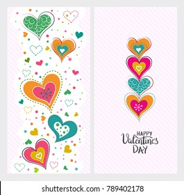 Happy Valentines day template for banner or poster. Holiday lettering, greeting card with heart for Valentines day, wedding . Vector illustration