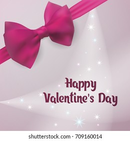 Happy Valentine's Day. Template greeting card vector illustration. Ecard decorated with silk pink bow with ribbon.