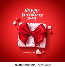 Happy valentines day text greeting card vector banner design with love gift, lasso and hearts elements in red background for valentines day celebration. Vector illustraton.