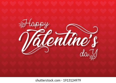 Happy Valentine's day text, hand lettering typography poster on red gradient background. Vector illustration Template