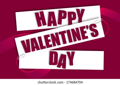 Happy Valentine's Day text on Pieces of Paper