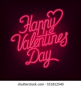 happy valentines day text vector neon sign valentines card
