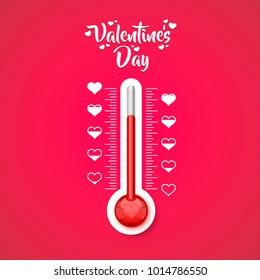 Happy Valentines Day thermometer of the love scale with the symbols of the heart . Vector illustration