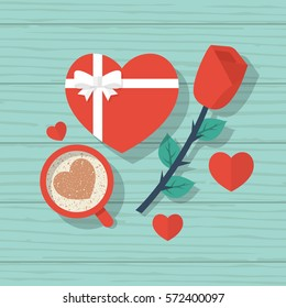 Happy Valentine's Day. Top view on wooden table with red rose, a cup of coffee with a heart gift with ribbon and bow. Vector illustration flat design.