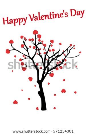 Happy Valentines Day Tree Hearts Stock Vector Royalty Free